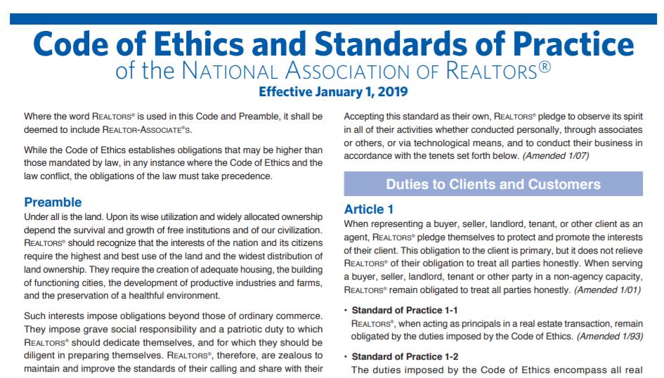 Realtor Code of Ethics 2019