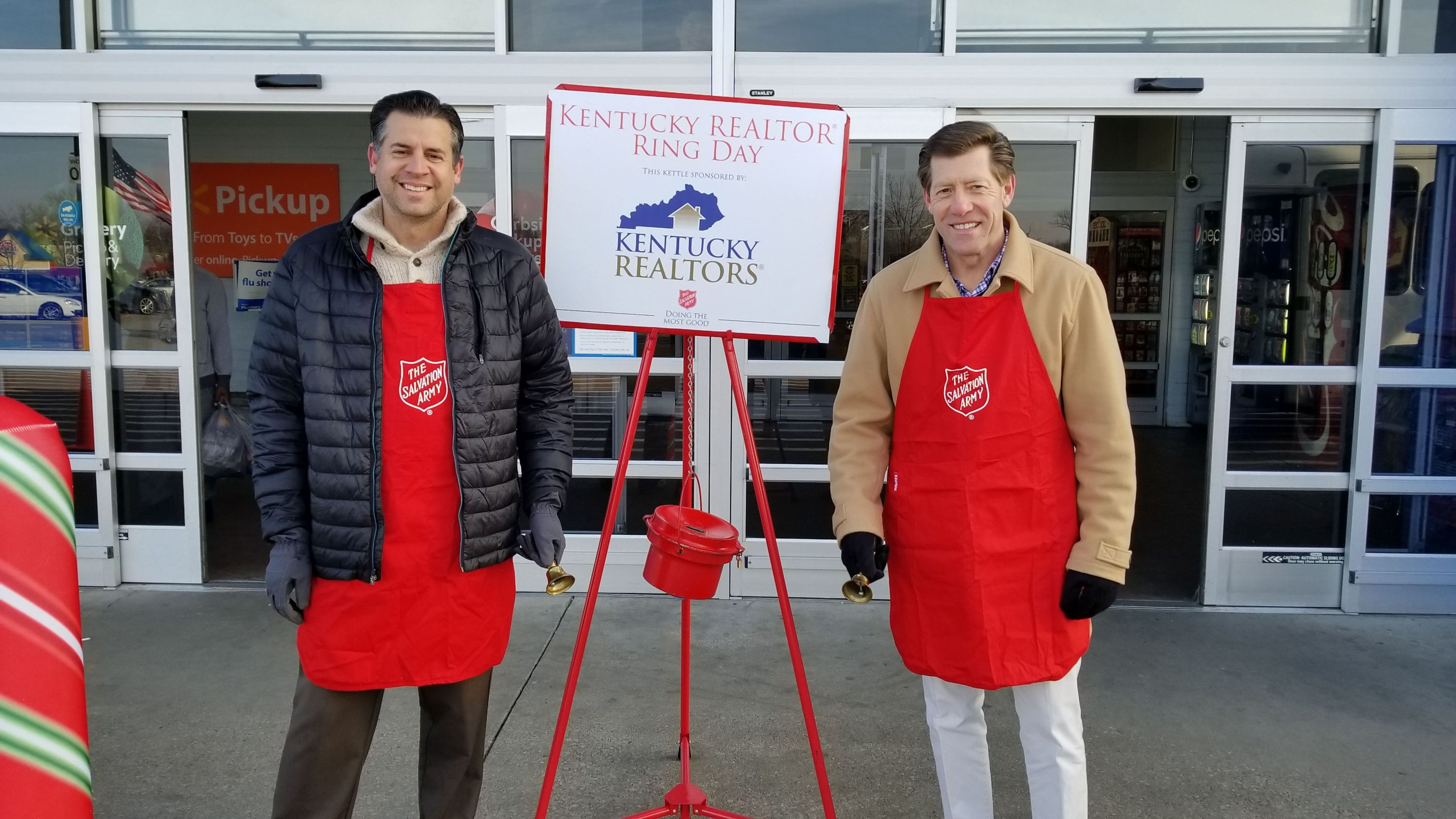 Steve Stevens and Paul Del Rio ring bells at a Salvation Army kettle in Lexington (Dec. 7, 2018)